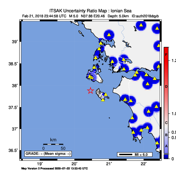 ITSAK Strong Motion Network - Greece ShakeMap: Products Available